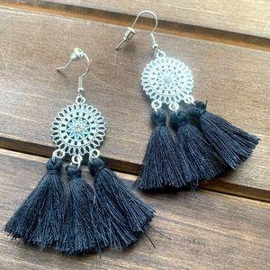 Black Boho Fringe Dangle Earrings